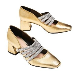 Zara lim. Edition Gold Metallic Silver heels 41